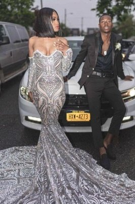 Off the Shoulder Long Sleeves Mermaid Silver Appliques Prom Dress_2