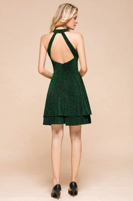Green Halter Sleeveless Sequined Backless Sheath Homecoming Dresses | Short Cocktail Dresses_4