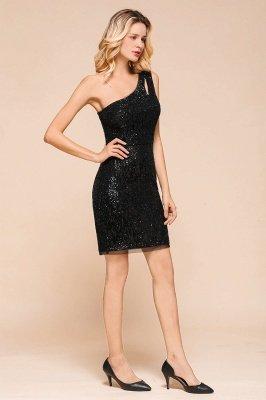Black One Shoulder Sequined Sheath Homecoming Dresses | Short Cocktail Dresses_6