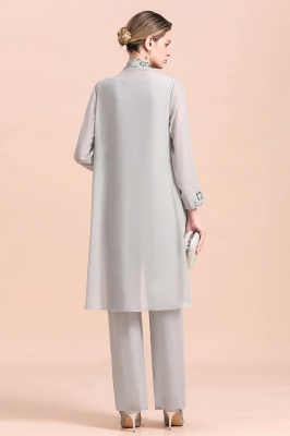 Grey Chiffon Mother of Bride Pant Suits with Half Sleeves Long Jacket_3