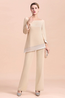 Champagne Bateau  3/4 Sleeves Chiffon Mother of Bride Pant Suits_8