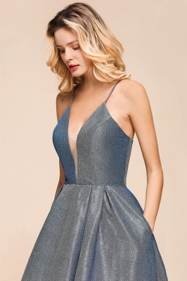 Spaghetti Strap V Neck Sequined Criss Cross A Line Short Homecoming Dresses_8