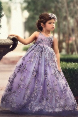 Lovely Purple Straps Sleeveless Applique Flower Criss Cross A Line Flower Girl Dresses | Little Girl Pageant Dresses