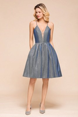 Spaghetti Strap V Neck Sequined Criss Cross A Line Short Homecoming Dresses