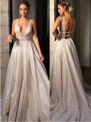 Straps Deep V Neck Sleeveless Sequined Mermaid Prom Dresses | Sexy Backless Evening Gown_2