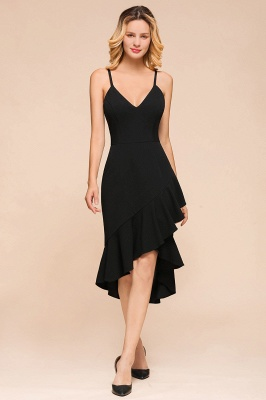 Black Spaghetti Strap Sweetheart Backless Rufffles Knee Length Mermaid Homecoming Dresses