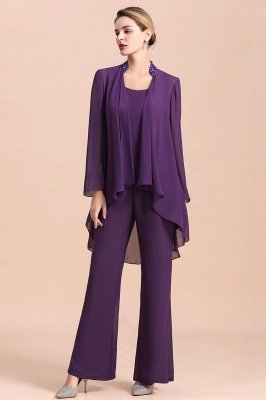 Grape Chiffon Mother of Bride Jumpsuit with Long-Sleeve Jacket_1