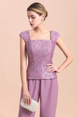 Lilac Chiffon Cheap Mother of Bride Pant Suits with Half Sleeves Jacket_10