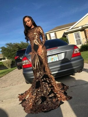 Scoop Long Sleeve Applique Sequined Floor Length Prom Dresses | Fitted Evening Dresses_2