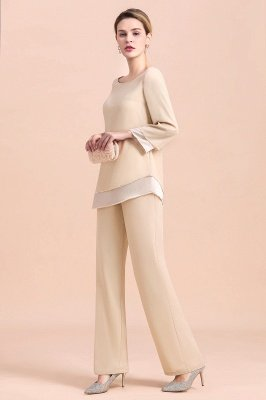 Champagne Bateau  3/4 Sleeves Chiffon Mother of Bride Pant Suits_5