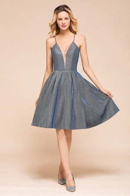 Spaghetti Strap V Neck Sequined Criss Cross A Line Short Homecoming Dresses_5