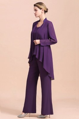 Grape Chiffon Mother of Bride Jumpsuit with Long-Sleeve Jacket_9