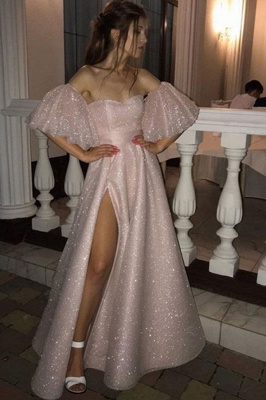 Pink Off-the-shoulder Sequined Front Slit A-line Floor Length Prom Dresses | Backless Evening Gown