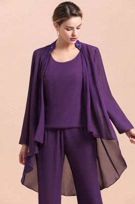 Grape Chiffon Mother of Bride Jumpsuit with Long-Sleeve Jacket_5