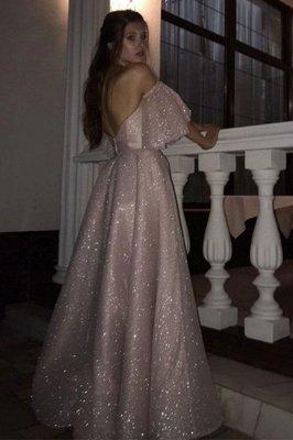 Pink Off-the-shoulder Sequined Front Slit A-line Floor Length Prom Dresses | Backless Evening Gown_2