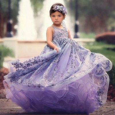 Lovely Purple Straps Sleeveless Applique Flower Criss Cross A Line Flower Girl Dresses | Little Girl Pageant Dresses_2