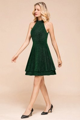 Green Halter Sleeveless Sequined Backless Sheath Homecoming Dresses | Short Cocktail Dresses_5