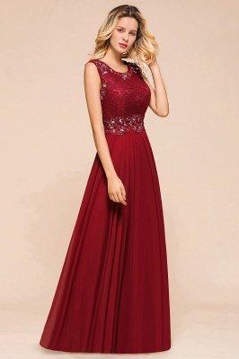 Burgundy Jewel Sleeveless Applique Lace Floor Length Prom Dresses | Beading Cheap Party Dresses_7
