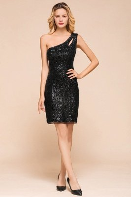 Black One Shoulder Sequined Sheath Homecoming Dresses | Short Cocktail Dresses