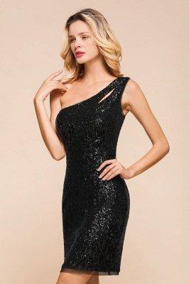 Black One Shoulder Sequined Sheath Homecoming Dresses | Short Cocktail Dresses_9
