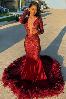 Jewel Sheer Long Sleeves Sequin Mermiad Prom Dresses with Fur