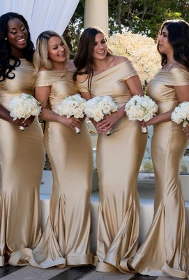 Sexy Strapless Off The Shoulder Ruffles Mermaid Bridesmaid Dresses | Floor Length Party Dress For Wedding_2