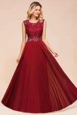 Burgundy Jewel Sleeveless Applique Lace Floor Length Prom Dresses | Beading Cheap Party Dresses_6