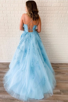 Elegant Spaghetti Strap Strapless Backless Applique Lace A Line Prom Dresses | Sleeveless Evening Dresses_2