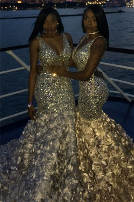 Sexy V-neck Straps Sequins Mermaid Prom Dresses with Flower Train