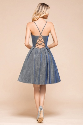 Spaghetti Strap V Neck Sequined Criss Cross A Line Short Homecoming Dresses_3