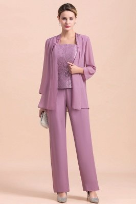 Lilac Chiffon Cheap Mother of Bride Pant Suits with Half Sleeves Jacket_1