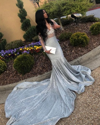 V-neck Long Sleeves Appliques Sequined Mermaid Prom Dresses_2