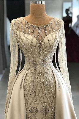 Gorgeous Jewel Long Sleeves Beaded Prom Gowns_2