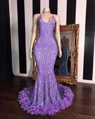 Lilac Spaghetti Straps Sequined Mermaid Prom Dress with Fur Trimmed_2