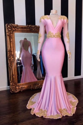 Hot Pink V-neck Long Sleeves Mermaid Prom Dresses with Appliques_1