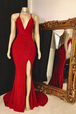 Spaghetti Straps Deep V-neck Thigh Slit Red Long Prom Dresses_1