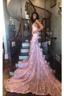 High Neck Sleeveless Mermaid Prom Dresses with Handmade Flower_1