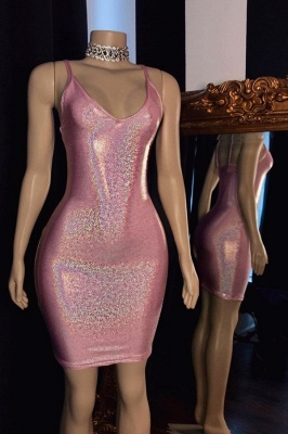 Spaghetti Straps V-neck Sexy Pink Bodycon Short party Dresses_1
