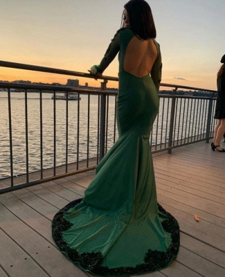 Stylish Mermaid Deep-V-Neck Long-Sleeves Appliques Floor-Length Prom Dresses_3