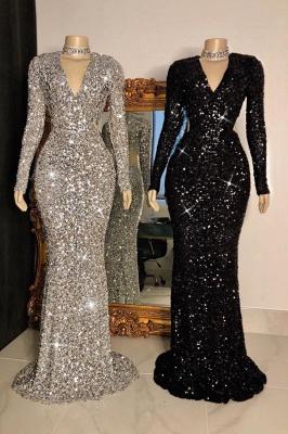 Glitter V-neck Long Sleeves Form-fitting Floor Length Prom Dresses_1