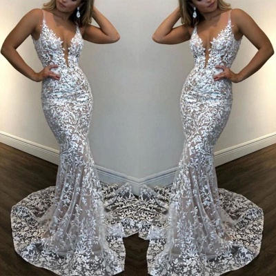 Spaghetti Straps V-neck Fitted Lace Prom Dresses_2