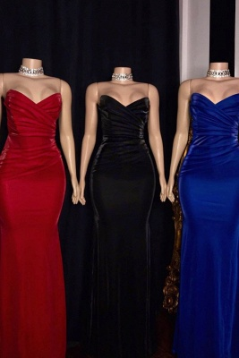 Stiff Strapless Sweetheart Column Floor Length Prom Dresses_1