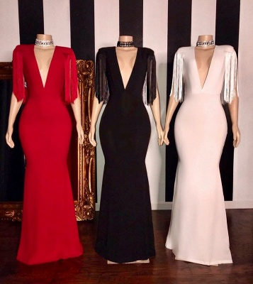 Elegant Deep V-neck Long Sheath Prom Dresses with Fringes on Sleeves_2