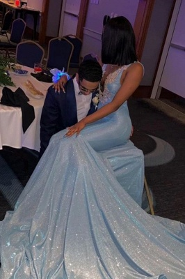 Deep V-neck Straps Sparkly Mermaid Prom Dresses_1