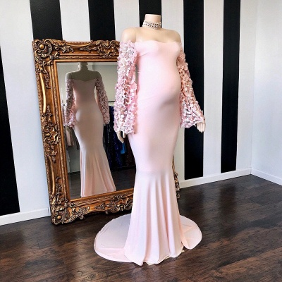 Lovely Off the Shoulder Long Sleeves Pink Baby Shower Dresses_2