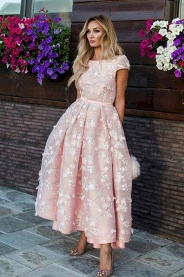 Jewel Short Sleeves A-line Appliques Pink Midi Party Dresses_3