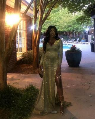 V-neck Long Sleeves Sequins Thigh Split Column Prom Dresses_3