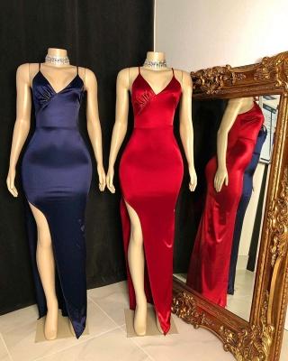 Silky Spaghetti Straps V-neck Floor Length High Slit Prom Dresses_2