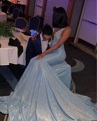 Deep V-neck Straps Sparkly Mermaid Prom Dresses_3