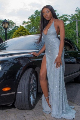 Sparkly Halter Deep V-neck High Slit Sequin Prom Dresses_1